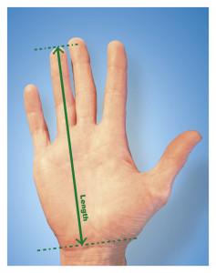 Mål din hånd og vælg den rigtige størelse.